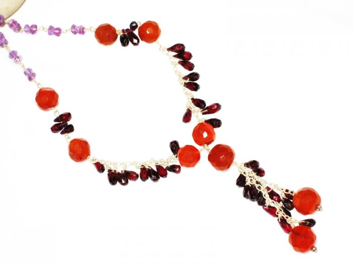 ST548       Garnet, Carnelian, and Amethyst  Necklace in Sterling Silver