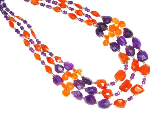 ST549       Carnelian and Amethyst  Necklace in Sterling Silver
