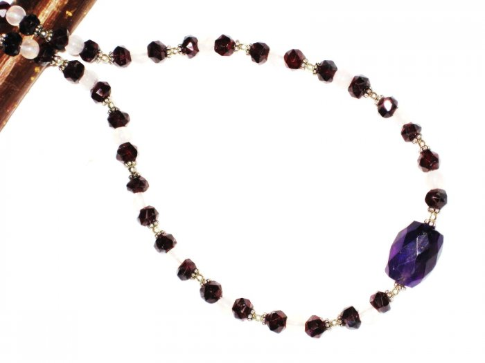 ST559       Amethyst, Garnet and Pearl  Necklace in Sterling Silver