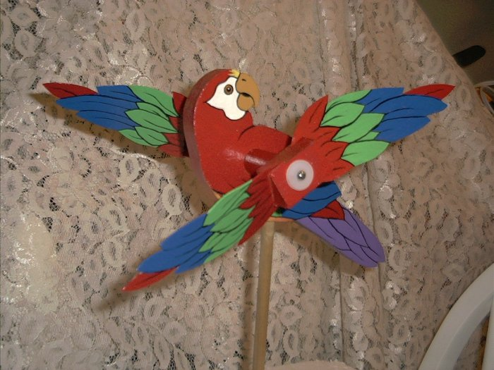 Pretty Red Parrot Whirligig- wind, motion, mobile
