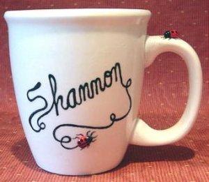 Personalized Coffee Mug 12Oz.  LADYBUG WRITER