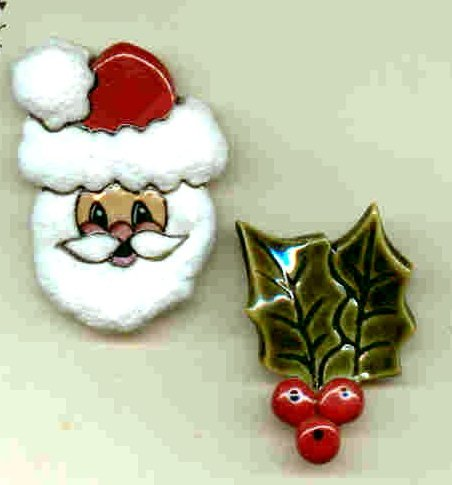 Handmade Ceramic Button Covers-  Santa and Holly