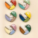Handmade Ceramic Buttons -  TINY QUILTED HEARTS