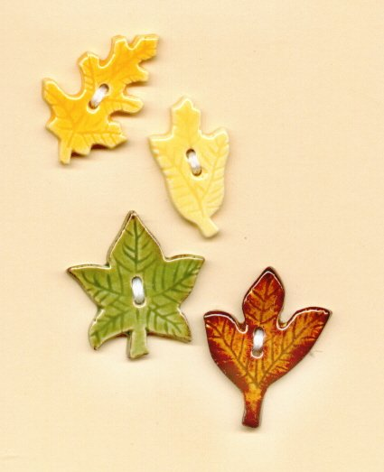 Handmade Ceramic Buttons FALL LEAVES