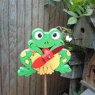 Whirligig  Happy Green Frog garden, deck, patio