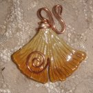 Pin or Pendant  Ceramic Ginkgo Leaf