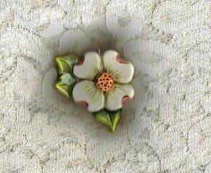 Handcrafted Sculptured Ceramic Dogwood Pendant