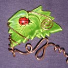 Hand- crafted Artisan Jewelry Double leaf & Ladybug