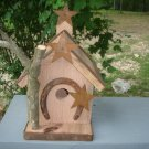 Primitive Handcrafted Birdhouse Rusty Horse Shoe Stars unique Garden