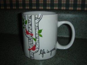Handpainted Personalized Mug  LIFE IS GOOD CARDINAL