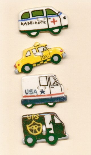 Handcrafted Decorative Ceramic Buttons  SERVICE VEHICLES