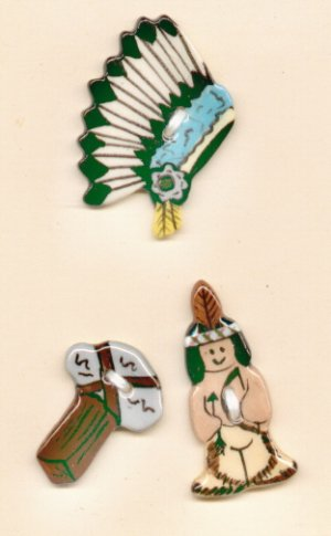 Handcrafted Decorative Ceramic Buttons  LITTLE INDIAN SERIES