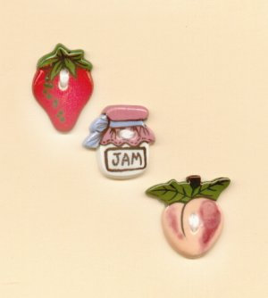 Handcrafted Decorative Ceramic Buttons JAM & FRUIT
