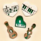 Handcrafted Decorative Ceramic Buttons   MUSIC THEME