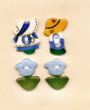 Handcrafted Decorative Ceramic Buttons SUN BONNET SUE & SAM