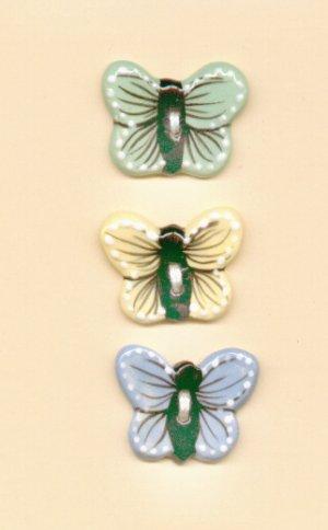 Handcrafted Decorative Ceramic  Buttons BUTTERFLIES