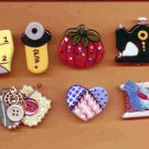 Handcrafted Decorative 7 Ceramic Button Covers SEWING SERIES