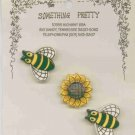 Handcrafted Decorative 3 Ceramic Button Covers Bumble Bees & Sunflower