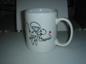 Personalized Ceramic Mug  handpainted  Ninja Nurse