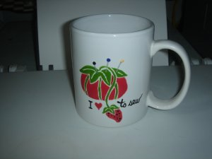 Personalized Ceramic Mug  I love to Sew Red Pin Cushion
