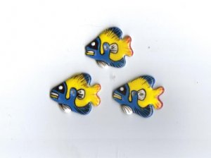 Handcrafted decorative ceramic buttons  Colorful Fish