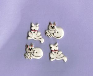 Handcrafted decorative ceramic buttons  White Cats