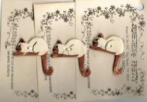 Handcrafted decorative ceramic buttons Siamese Cats 3