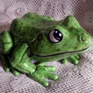 Ceramic Garden Frog  Lime Green
