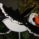Whirligig Pelican white handcrafted handpainted twirler wind mobile motion