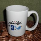 Personalized Ceramic Mug Addicted to Facebook and Twitter  white, 14 ounces