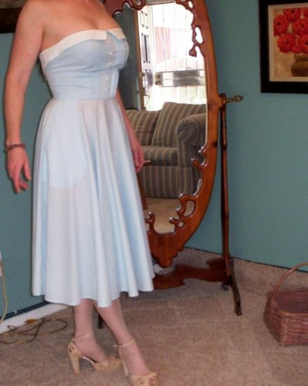 Hand Sewn Dotted Swiss Blue Strapless Summer Dress FREE SHIPPING!