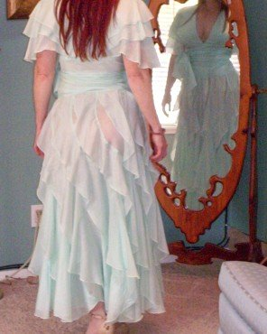 SOLD! Silk Aqua Ballroom Dance / Prom Dress