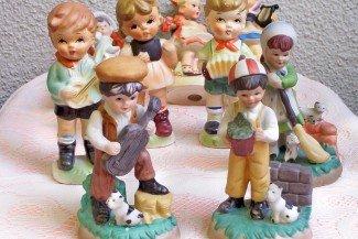 LOT: 9 Ceramic Children Figurine LOT..some Hummel Like  FREE SHIPPING!
