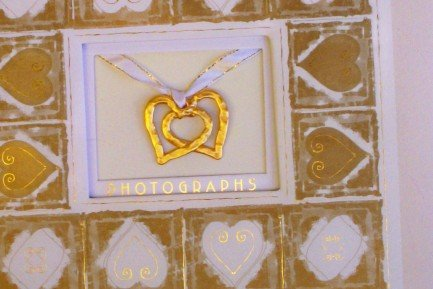 Photo Album with Heart Charms...Good Wedding Scrapbook!  FREE SHIPPING!