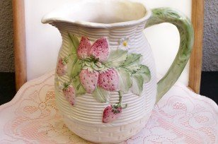 Strawberries on Ceramic Basket Pitcher...very sweet  FREE SHIPPING!