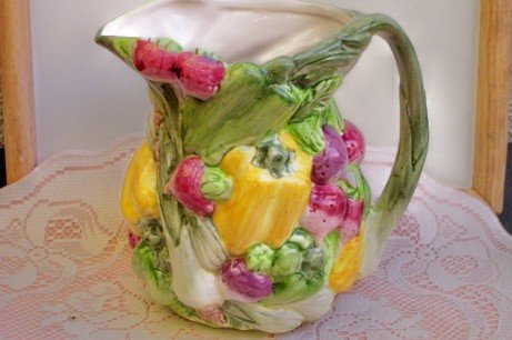 World Bazaar Vegetable Sculted Pitcher Vibrant colors!  FREE SHIPPING!