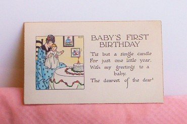 Vintage Rust Craft �Baby�s First Birthday� Greeting FREE SHIPPING!