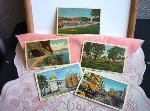 LOT:  4 LINEN Post Cards All unused and mint condition! Nev & Or FREE SHIPPING!