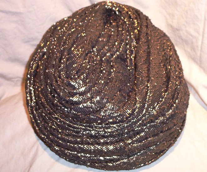 SOLD! Retro Black & Gold Turban Ladies Hat by John Andrew of California