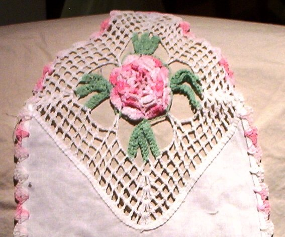 SOLD! Crocheted Pink Rosettes on Linen Table Runner/Doily/Doilie FREE SHIPPING!