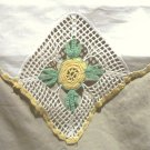Crocheted Yellow Flowers on Linen Table Runner/Doily/Doilie FREE SHIPPING!