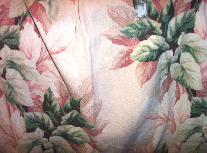 SOLD! Shabby Chic Greens and Rose Colored Bark Cloth/ Barkcloth Fabric FREE SHIPPING!