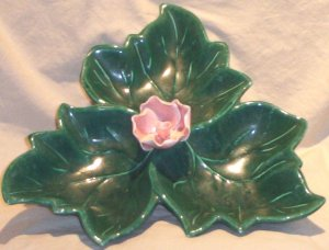 California Pottery Flower Tri-Well Serving Dish FREE SHIPPING!