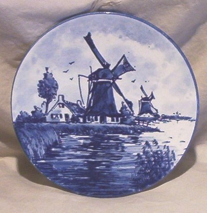 Blue Delft Mini Plate 3 Windmills and a House FREE SHIPPING!