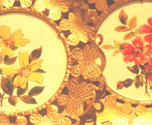 Set: 4 English Floral Samplers Framed in Embossed Brass Sheeting FREE SHIPPING!
