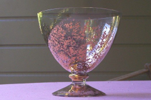 Cristallerie Italian Lead Crystal Goblet / Compote Gold Speckles FREE SHIPPING!