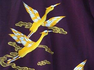 Japanese Maroon Kimono with Yellow Bird Embroidery FREE SHIPPING!