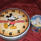2 Nice Tins Mickey Mouse Clock Tin & Walt Disney World