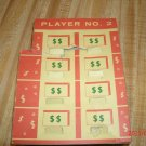 Concentration Game 1959 Player #2  prize board