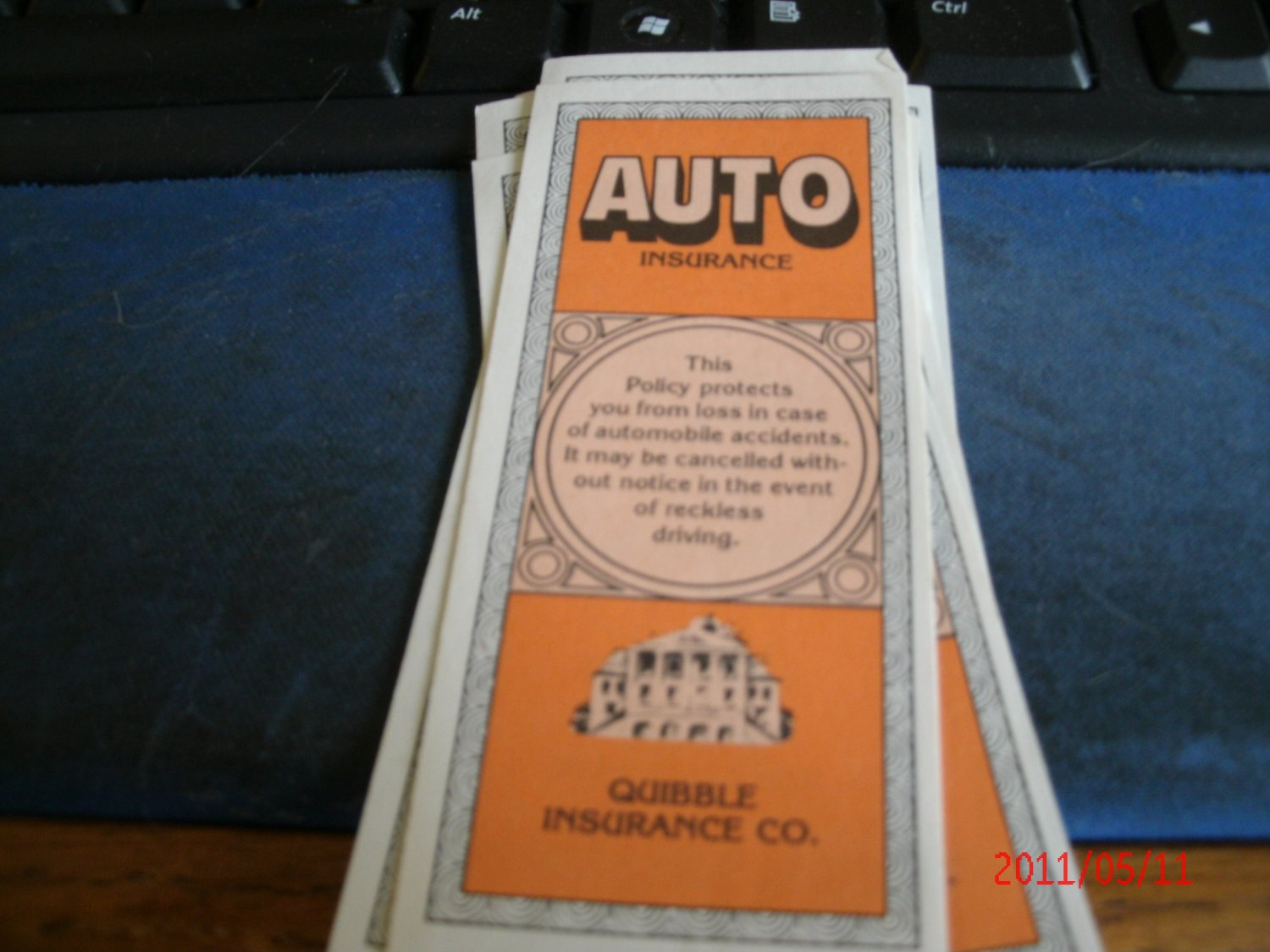 Auto Insurance Online >> 1982 Game of Life - Auto Insurance Certificate